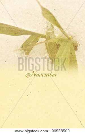 Stylized Vintage Background For Calendar Month. November