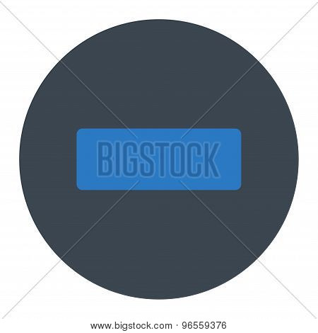 Minus flat smooth blue colors round button