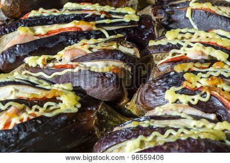 A Lot Of Baked An Eggplant.