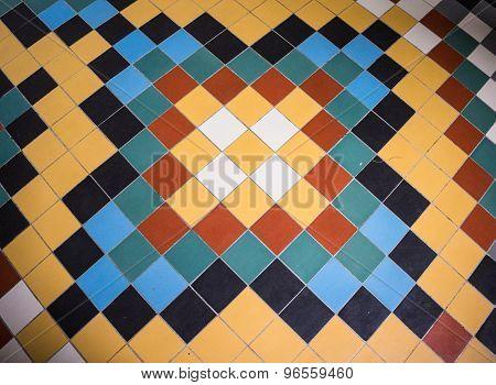 colorful tile floor pattern