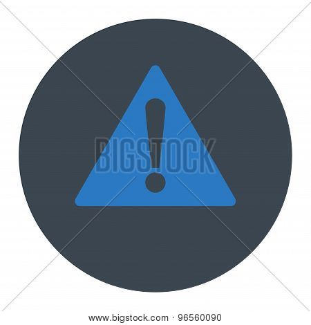 Warning flat smooth blue colors round button