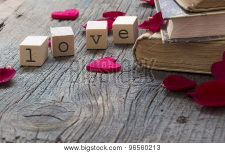 books about love, old books illustrating concept of love