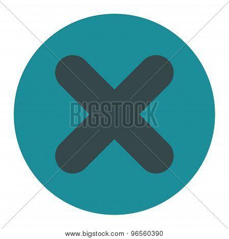 Cancel flat soft blue colors round button