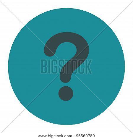 Question flat soft blue colors round button