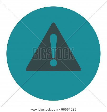 Warning flat soft blue colors round button