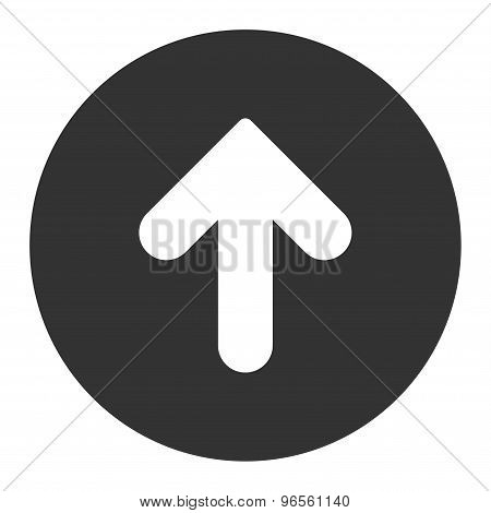 Arrow Up flat white and gray colors round button