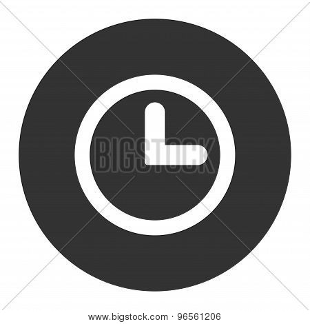 Clock flat white and gray colors round button
