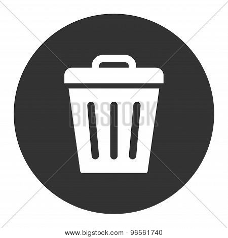 Trash Can flat white and gray colors round button