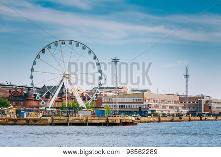 Port In Helsinki City, Finland. Cityscape View From Sea