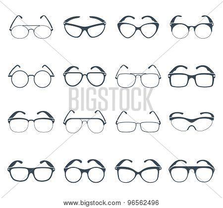 Sunglasses glasses black icons set