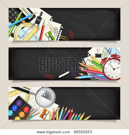 Vector Set Of Three Back To School Horizontal Banners.