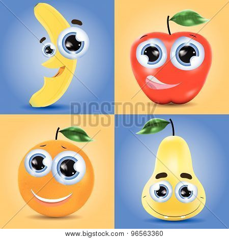 Funny fruits set of banana, orange, pear and apple vector cartoons