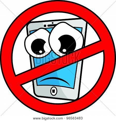 Vector no cell phone cartoon sign