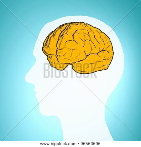 Silhouette of a man's head and brain illustration