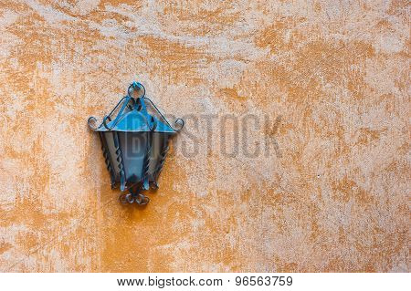 Outdoor Garden Lamp On Orange Wall