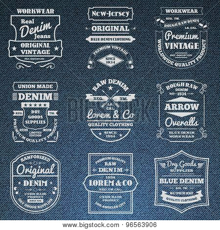 Denim jeans typography logo emblems set