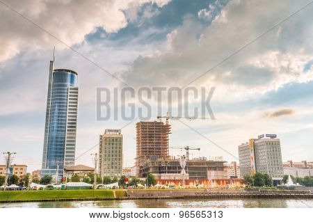 Skyscraper Building In Old Part Minsk, Downtown Nyamiha, Nemiga,