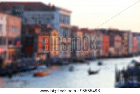 Italy. Venice. The Grand Canal From Rialto Bridge At Sunset. In Blur Style