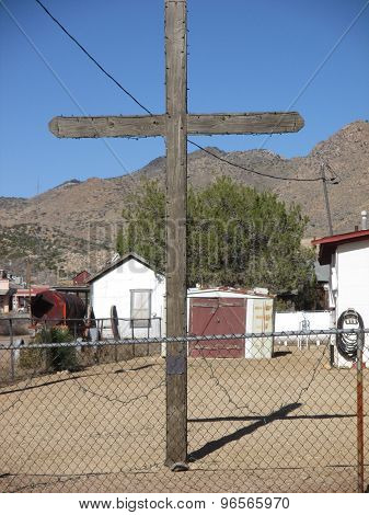 A Wooden Cross in the High Desert