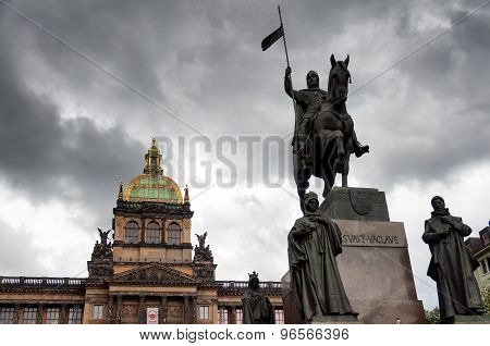 Saint Wenceslas (Svaty Vaclav) statue on Wenceslas Square