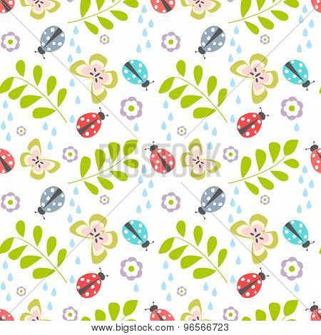 Floral seamless pattern with ladybug