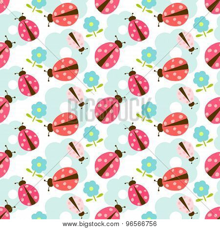 Seamless floral pattern with ladybug