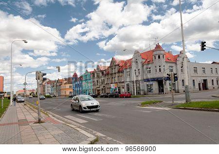 Car moving by empty streets in Kladno city near Prague, Czech Republic, Europe
