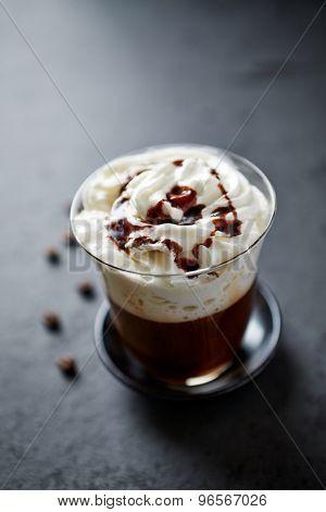 Mocha coffee with chocolate sauce