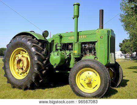 Restored classic John Deere D tractor