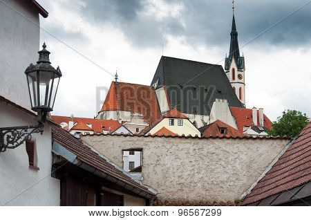Old European building in Cesky Krumlov, Czech Republic