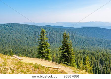 Beautiful Mountain Trail. Staircase and picnic bench. Blackwall Peak Trail at Manning Park in British Columbia. Canada.
