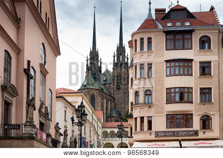 Old catholic church and European style buildings in Brno city