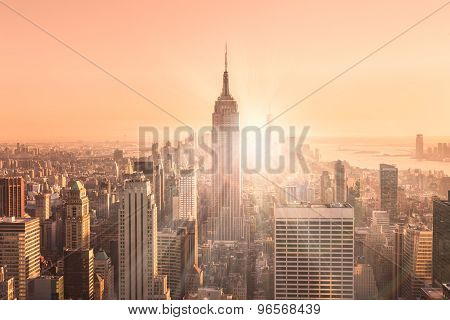 New York City Manhattan skyline in sunset.