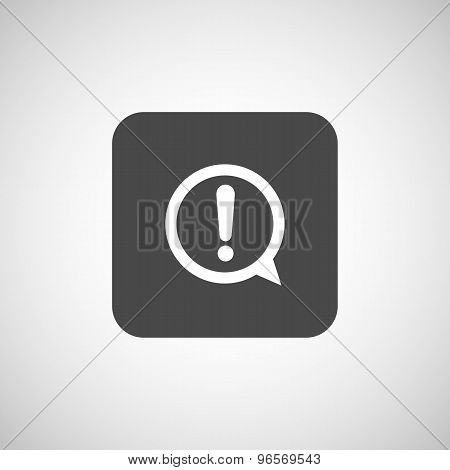 Exclamation mark icon, button, glossy circle