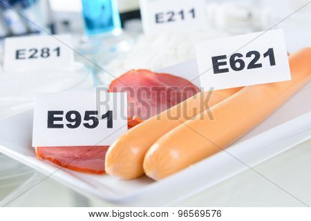 E951 Aspartame ASM. E621 Monosodium glutamate MSG, additives to food.