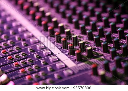 Audio mixing console closeup