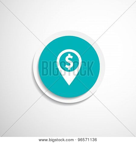 Map pointer with dollar sign icon