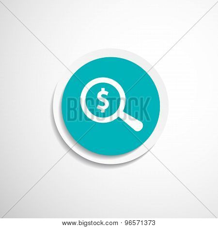 Magnifier with dollar sign money, business sign symbol