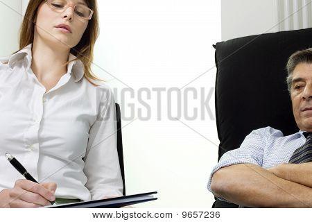 caucasian woman psychiatrist with patient