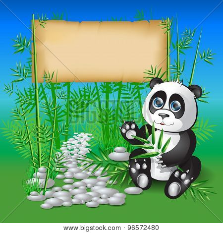 Panda sitting in bamboo branches and holding