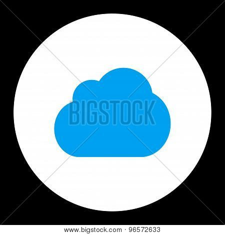 Cloud flat blue and white colors round button