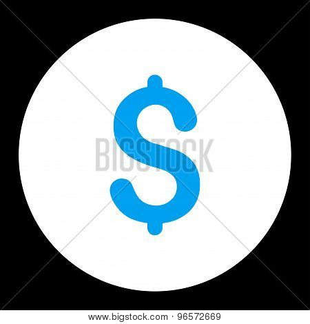 Dollar flat blue and white colors round button