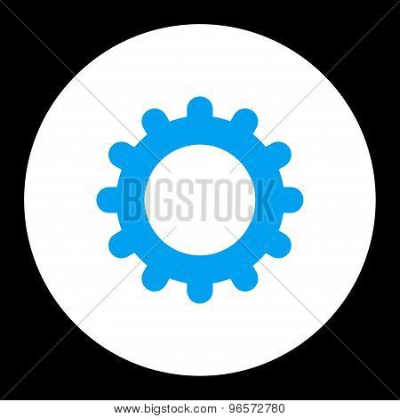 Gear flat blue and white colors round button