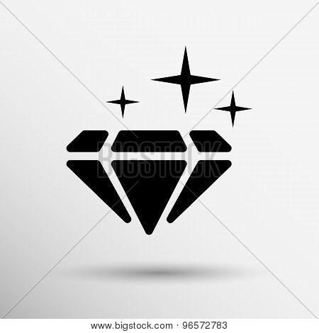 Illustration of a blue  diamond icon glitter icon stone.