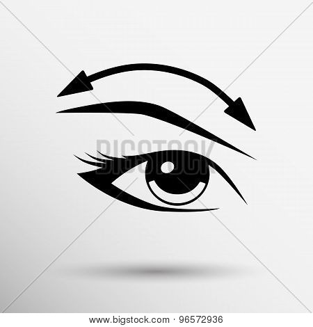 Eyelashes and eyebrows vector eyelash eye vector icon makeup isolated