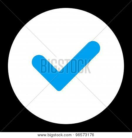 Yes flat blue and white colors round button