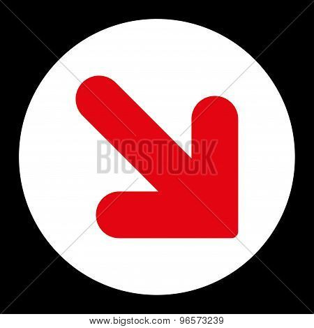 Arrow Down Right flat red and white colors round button