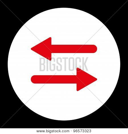 Arrows Exchange Horizontal flat red and white colors round button