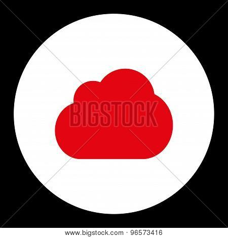 Cloud flat red and white colors round button