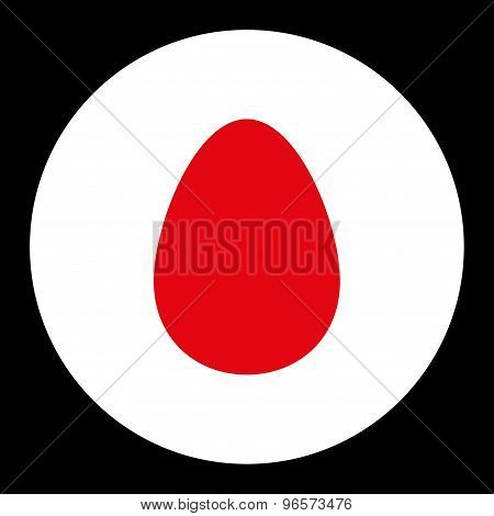 Egg flat red and white colors round button